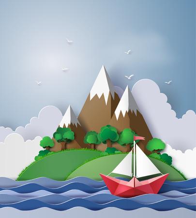 papieren zeilboot zweven op de zee met eiland op de achtergrond. papier kunst en ambachtelijke stijl.