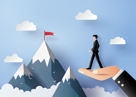 Business concept of vision and leader walking on the hand illustrations, paper art and craft style Illustration