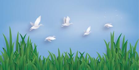 アヒルは空に飛んでいます。イラストは同じ紙のアートや工芸品のスタイル