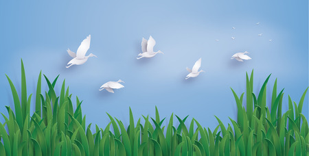 The ducks are flying into the sky. The illustrations do the same paper art and craft style