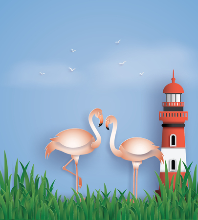 Love birds flamingos stand on the beach with grass and lighthouse. The illustration do to same paper art and craft style. Illustration