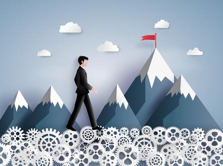 지도자 비전 및 생각, 기어, 종이 미술 및 공예 스타일에 걷고 비즈니스 남자의 개념