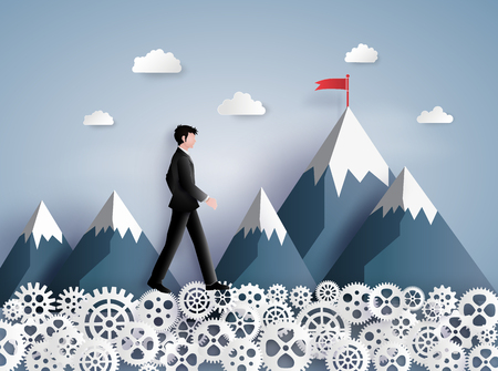 Concept of leader vision and thinking, business man walking on the gear ,paper art and craft style