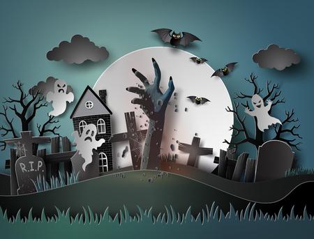 Halloween-feest met geest en kerkhof in volle maan. De illustraties hebben dezelfde papier- en ambachtelijke stijl