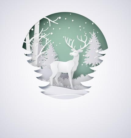 Cerf dans la forêt avec de la neige dans la saison d'hiver et christmas.vector style d'art papier. Banque d'images - 84632613