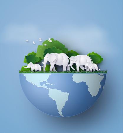 동물의 가족, 코끼리는 정글에서 음식을 찾는다. 같은 종이 아트와 공예 스타일을 만들었다. 일러스트