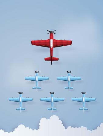 Concept de leadership et de travail d'équipe avec avion rouge et bleu volant sur le ciel. Les illustrations font le même style d'art et d'artisanat en papier