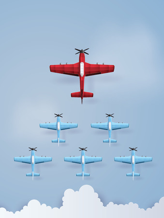 Concept of leadership and team work with red and blue plane flying on  the  sky.The illustrations do the same paper art and craft style