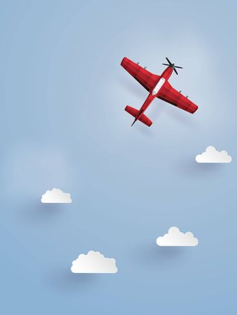 Paper art illustration of a red plane flying in the sky Illustration