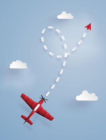 하늘에 지점을 타겟팅하는 빨간색 비행기의 종이 예술 그림