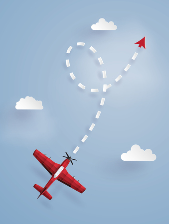 Paper art illustration of a red plane targeting a point in the sky