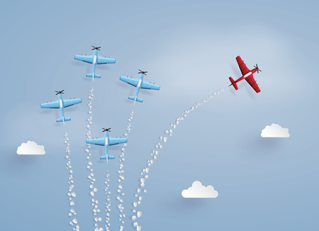 concept of success ,difference vision and target. red plane separated from the squadron ,illustrations made the same paper art and craft style. Illustration