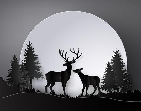 Cerf dans la forêt avec des cerfs dans la forêt avec la pleine lune. Les illustrations font le même art de papier et le style de métier Vecteurs