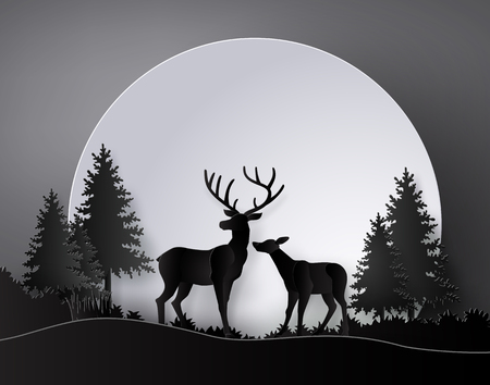 Deer in forest with deer in forest with  full moon.The illustrations do the same paper art and craft style