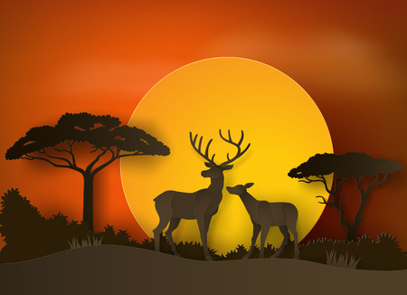 Herten in het bos met zonsondergang. papieren kunst en ambachtelijke stijl. Stockfoto - 84663649