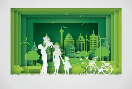 행복 한 가족과 에코와 세계 환경 하루의 그림. 종이 아트 스타일. 일러스트