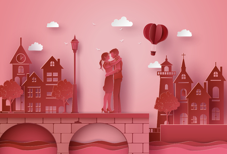 Illustration of love with  couple hugging on the bridge seaside village . paper art and craft style. Illustration