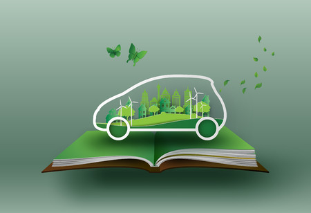 Een concept van eco-auto met de natuur in de city.paper kunst en ambachtelijke stijl.