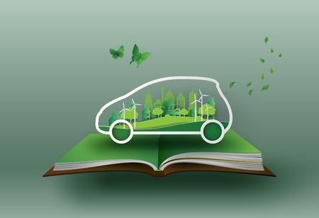 Um conceito de eco-carro com a natureza na arte da cidade. Arte e estilo artesanal. Ilustración de vector
