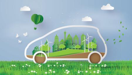 Een concept van milieuvriendelijk met eco-auto. Papier- en ambachtelijke stijl.