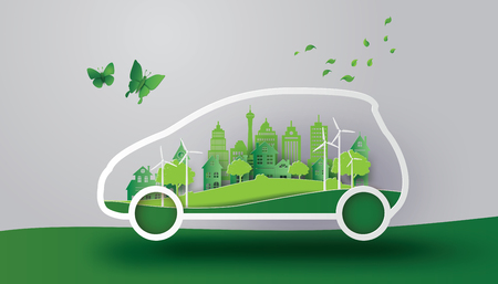 A concept of eco car with  nature in the city.paper art and craft style. Vectores
