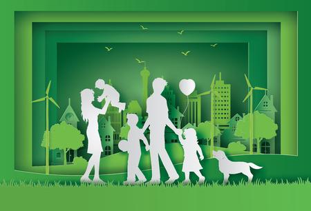 행복 한 가족와 에코와 세계 환경 하루의 그림. 종이 아트 스타일.