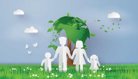 Eco-concept, papieren gezin op het grasveld met wereld boom, papier kunst en ambachtelijke stijl. Stock Illustratie