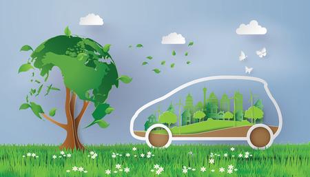 Un concept de respectueux de l'environnement avec le style d'art et d'artisanat eco .paper.