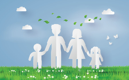 A paper family on the the grass field ,paper art and craft style. Illustration
