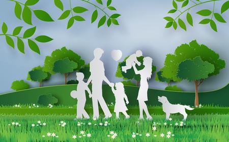 Gelukkige familie die op het veld Greengrass, papieren kunst en ambachtelijke stijl loopt.
