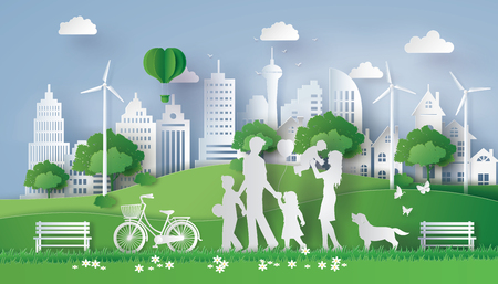 Konzept von eco mit der glücklichen Familie, die auf das Feld geht. Papierkunstart