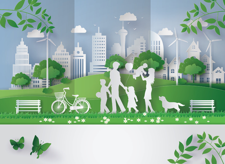 Concept of eco with family Vettoriali