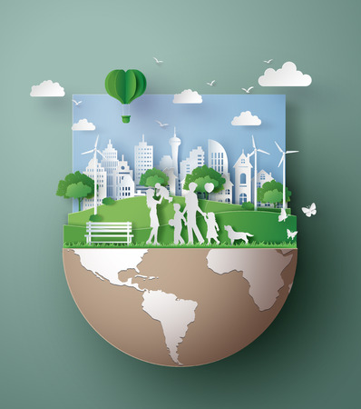 Paper art concept of eco friendly