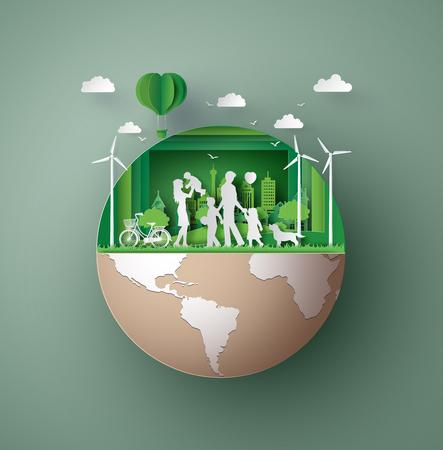 Papier kunstconcept van milieuvriendelijk Stockfoto - 85356452