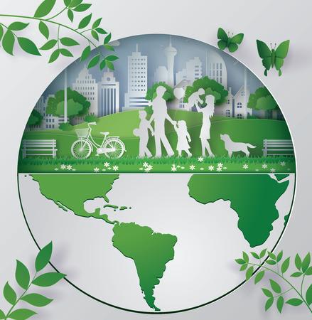環境にやさしい紙アート コンセプト  イラスト・ベクター素材