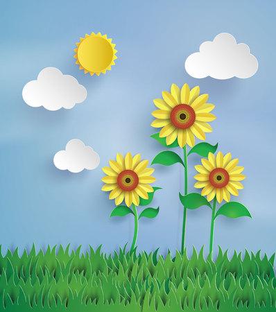 Sunflower field with blue sky Çizim