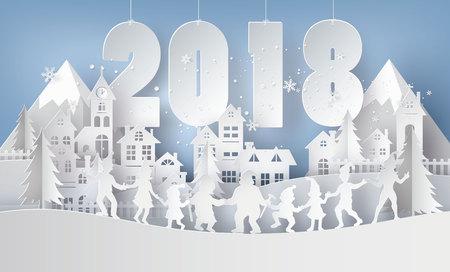 메리 크리스마스와 행복 한 새 해 2018 그림입니다. 종이 예술 및 공예 작풍