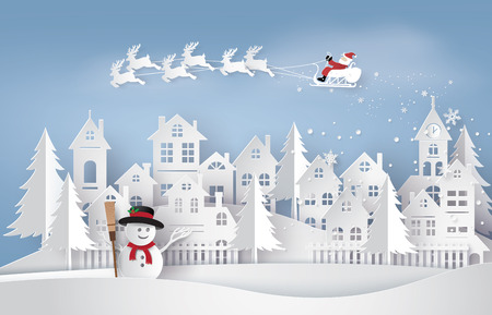 Buon Natale e Felice Anno nuovo. Illustrazione di Babbo Natale sul cielo di venire a City, l'arte della carta e stile artigianale Archivio Fotografico - 87627443
