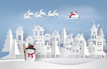 Feliz navidad y próspero año nuevo. Ilustración de Papá Noel en el cielo llegando a la ciudad, arte de papel y estilo artesanal