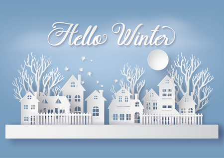 Winter Snow Urban Countryside Landscape City Village with full moon,Happy new year and Merry christmas,paper art and craft style. Illustration