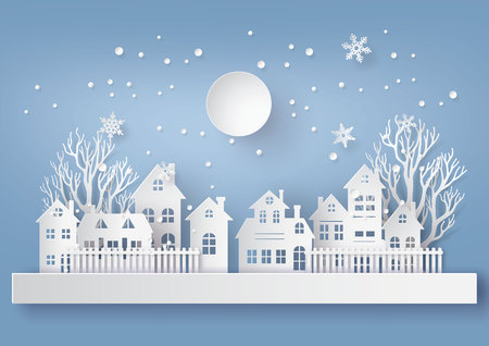Winter Snow Urban Countryside Landscape City Village with full moon,Happy new year and Merry christmas,paper art and craft style. Ilustração