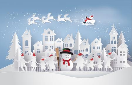 Frohe Weihnachten und ein glückliches Neues Jahr. Illustration von Santa Claus auf dem Himmel, der zur Stadt mit glücklichem Familientanz um Schneemann-, Papierkunst- und Handwerksart kommt