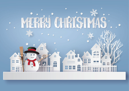 Merry Christmas and Happy New Year. Illustration of snow man in the village,paper art and craft style