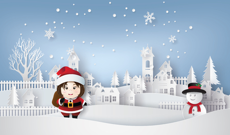 Merry Christmas and Happy New Year. Illustration of Santa and snow man ,paper art and craft style