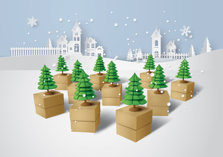 Merry Christmas and Happy new Year, Christmas tree on gift box, Paper art and craft style.