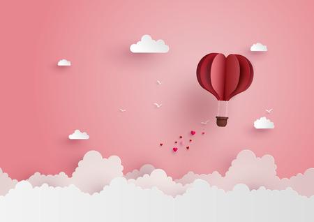 Illustration der Liebe und des Valentinstags, Origami ließ Heißluftballon auf dem Himmel mit Herzen fliegen, auf dem sky.paper Kunstart zu schwimmen.