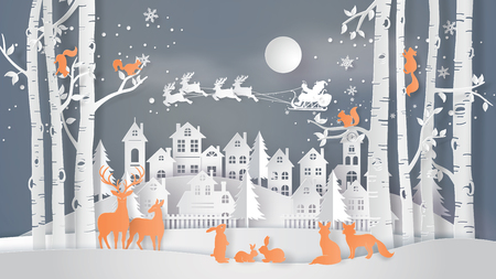 Illustration of winter season and Merry Christmas . The animal in forest with Santa Claus on the sky coming to City ,paper art and craft style Stock Illustratie