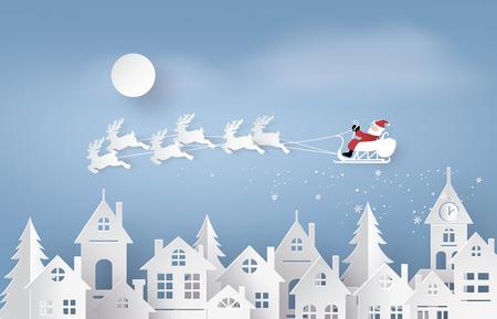 Feliz navidad y próspero año nuevo. Ilustración de Santa Claus en el cielo llegando a la ciudad, el arte de papel y el estilo de artesanía Ilustración de vector