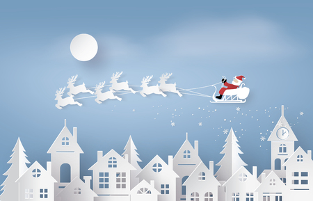 Merry Christmas and Happy New Year. Illustration of Santa Claus on the sky coming to City ,paper art and craft style Vectores