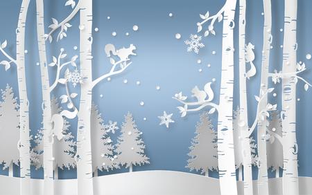 Ilustracja sezonu zimowego z wiewiórką wspina się na drzewo, a śnieg świeci. Styl sztuki papieru.
